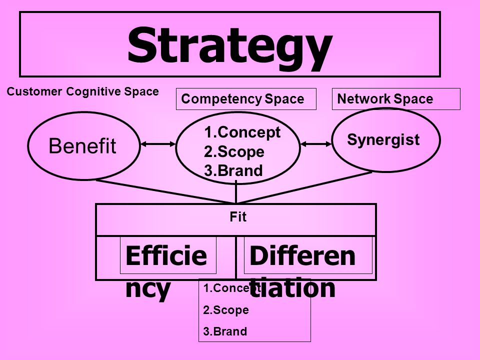 Strategy Efficiency Differentiation Benefit 1.Concept Synergist