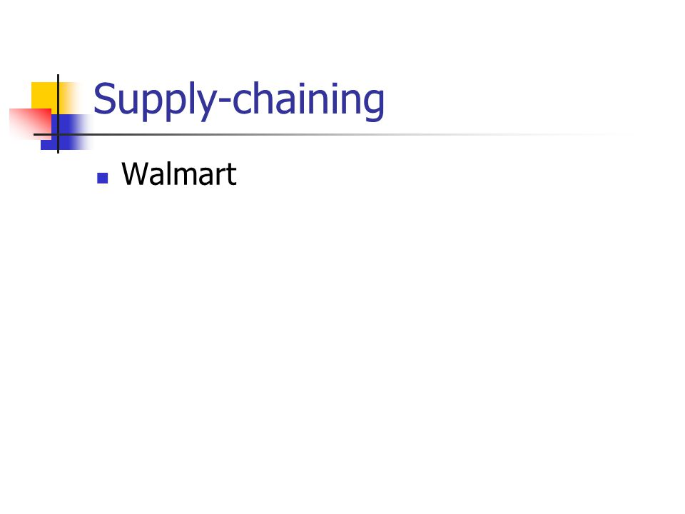 Supply-chaining Walmart