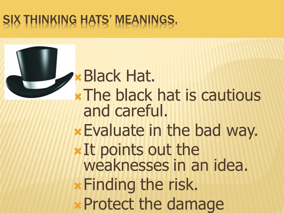 Six Thinking Hats' meanings.