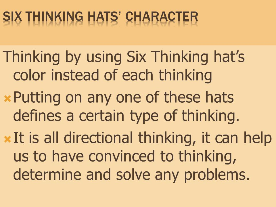 Six Thinking Hats' character