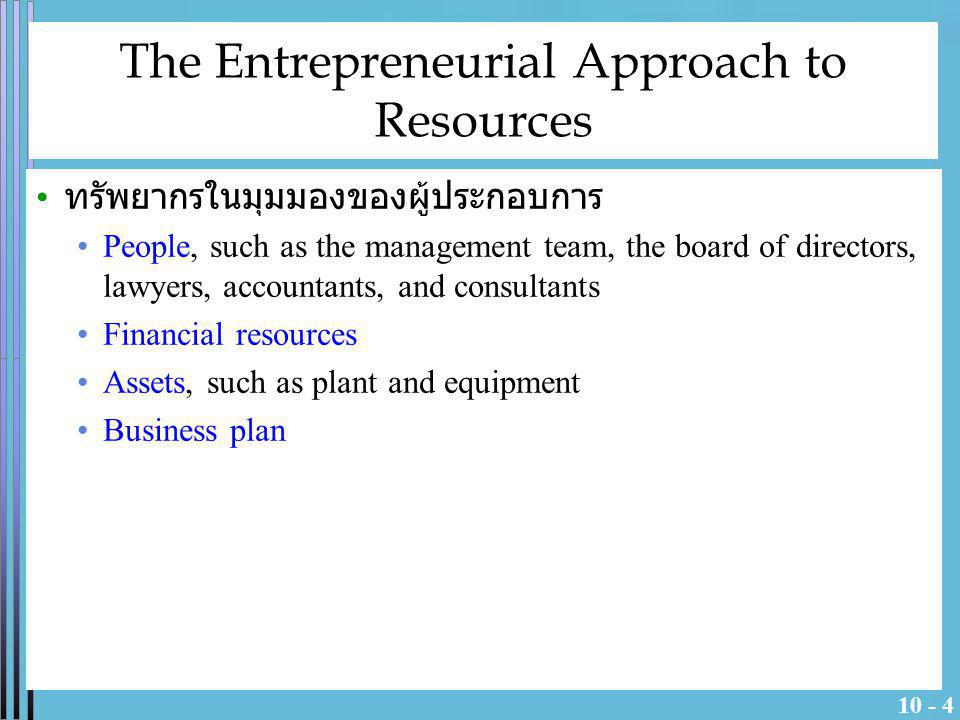 The Entrepreneurial Approach to Resources