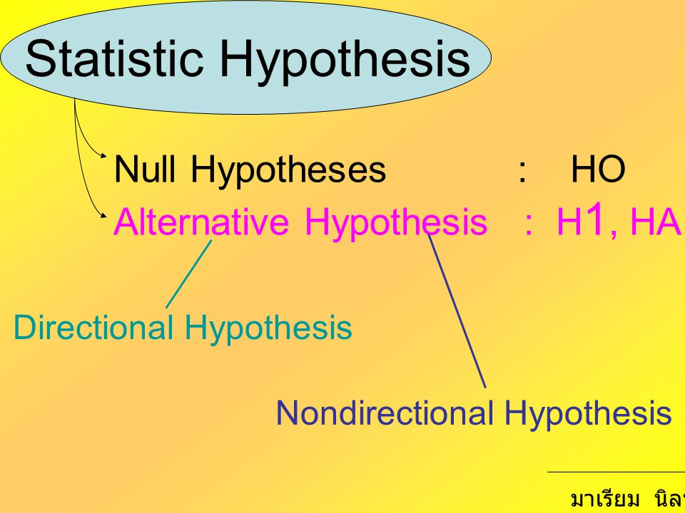 Statistic Hypothesis Null Hypotheses : HO
