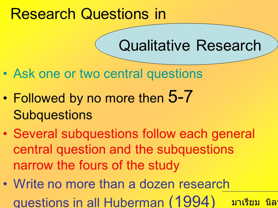 Research Questions in Qualitative Research