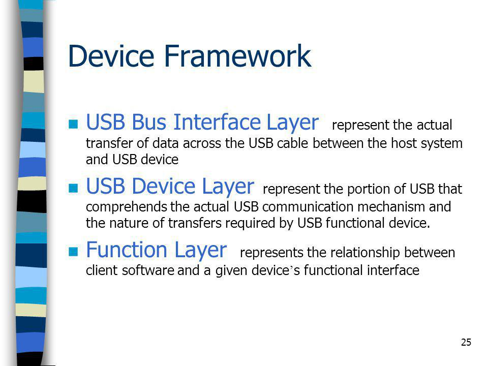Device Framework USB Bus Interface Layer represent the actual transfer of data across the USB cable between the host system and USB device.
