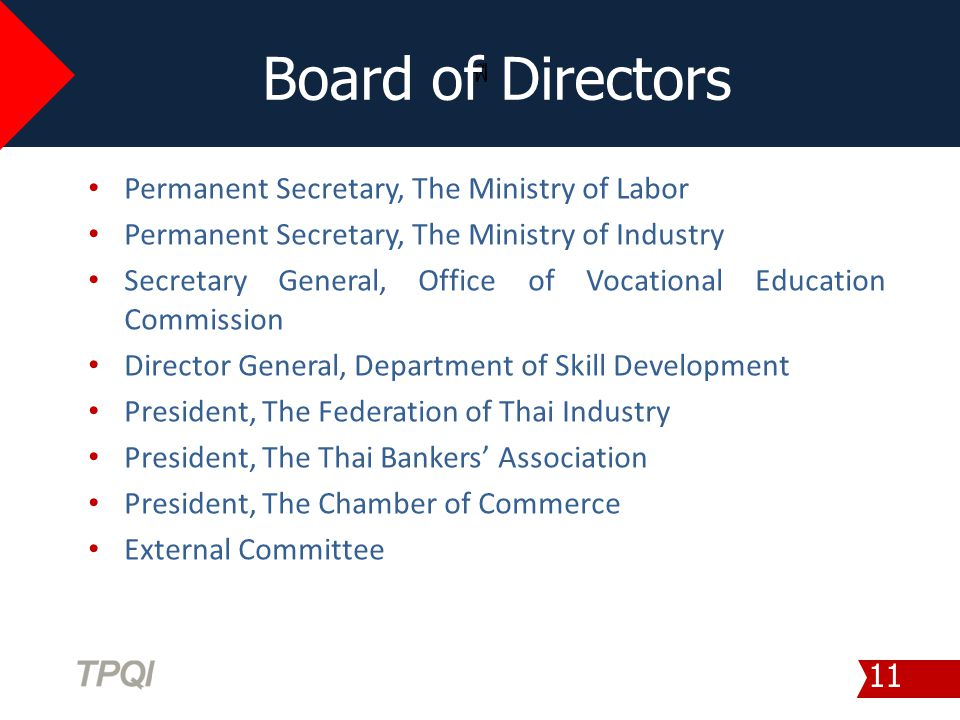 Board of Directors Permanent Secretary, The Ministry of Labor