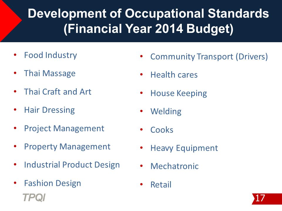 Development of Occupational Standards (Financial Year 2014 Budget)