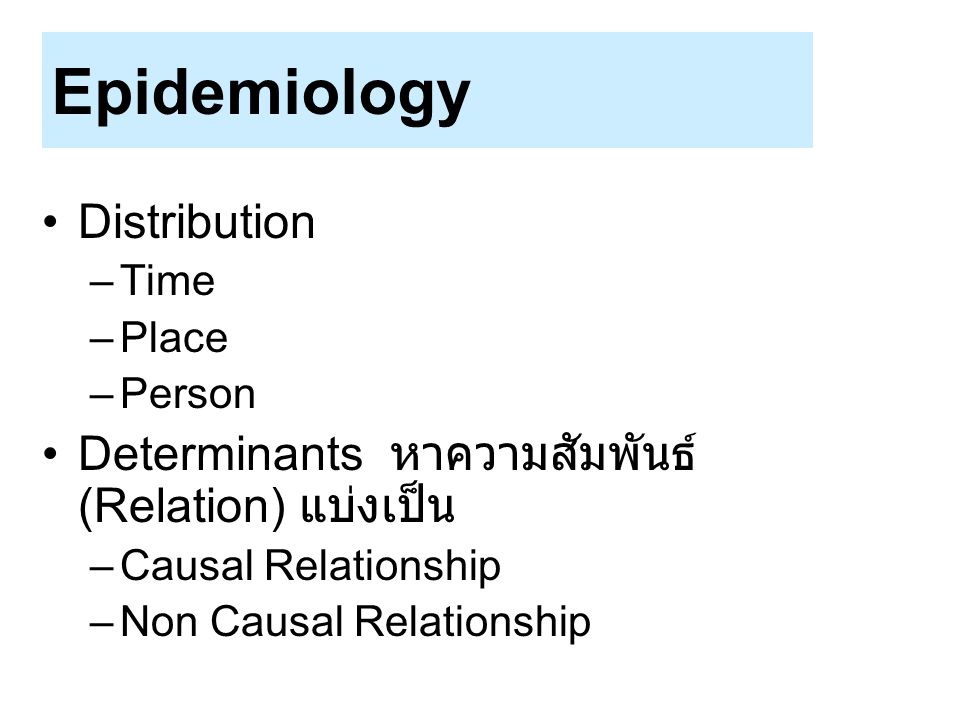 Epidemiology Distribution