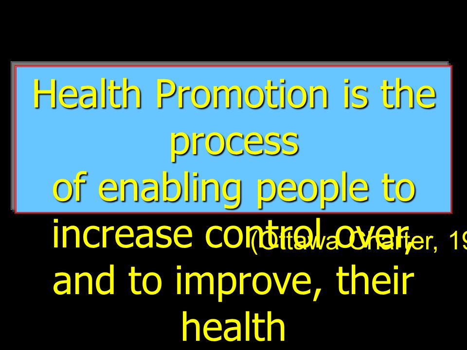 Health Promotion is the process