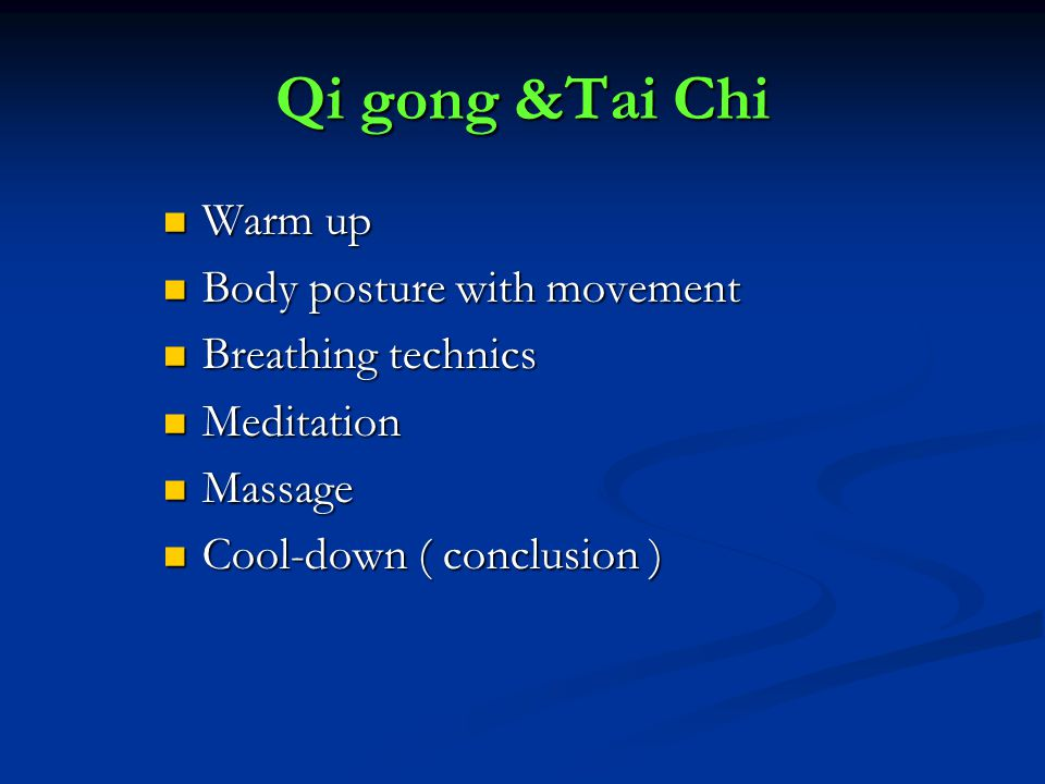 Qi gong &Tai Chi Warm up Body posture with movement Breathing technics