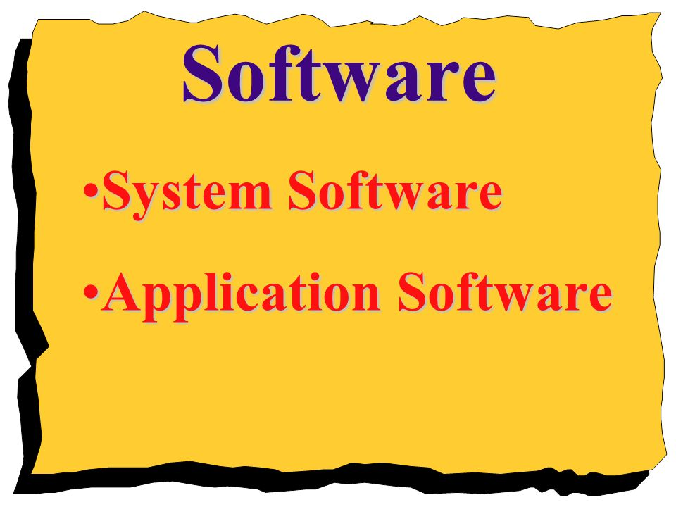 Software System Software Application Software