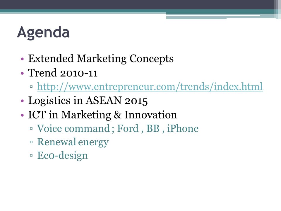 Agenda Extended Marketing Concepts Trend 2010-11