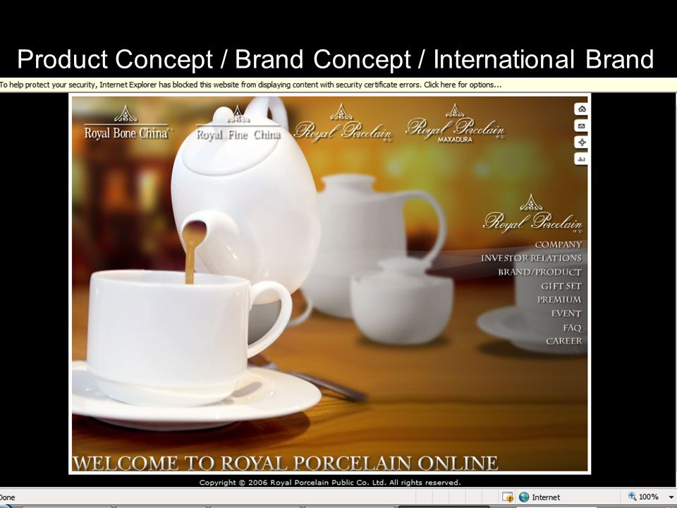 Product Concept / Brand Concept / International Brand