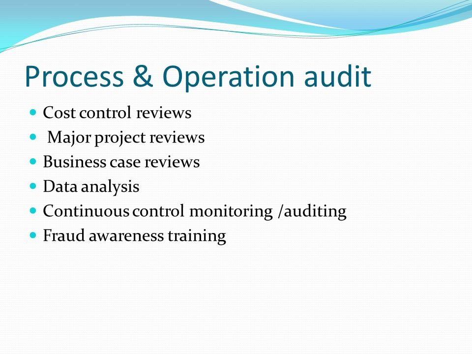 Process & Operation audit