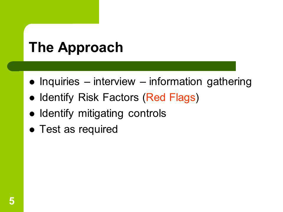 The Approach Inquiries – interview – information gathering