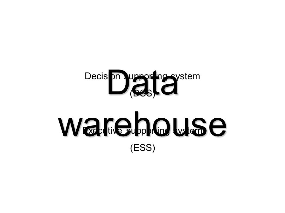 Data warehouse Decision supporting system (DSS)