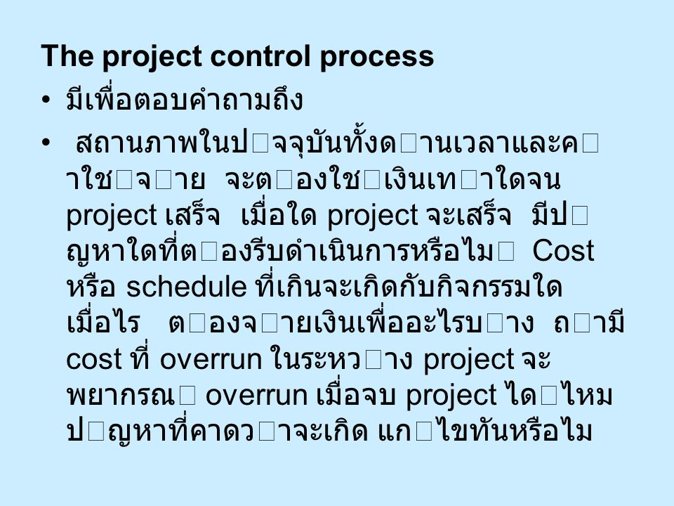 The project control process