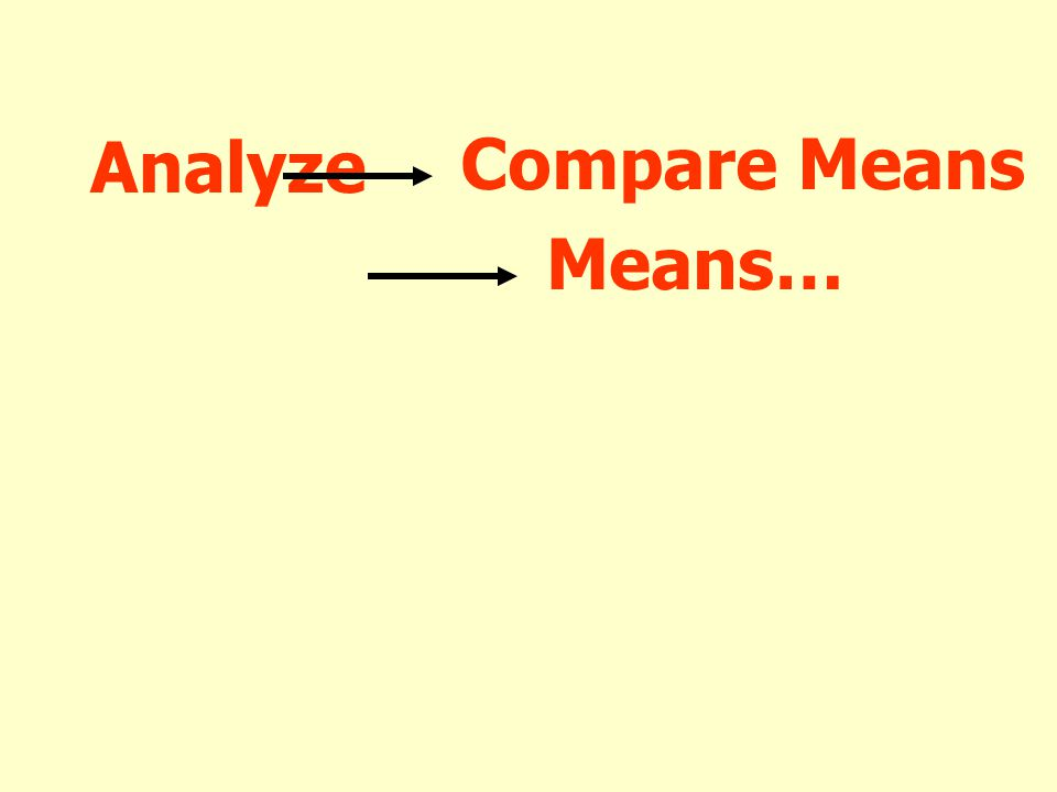 Analyze Compare Means Means…