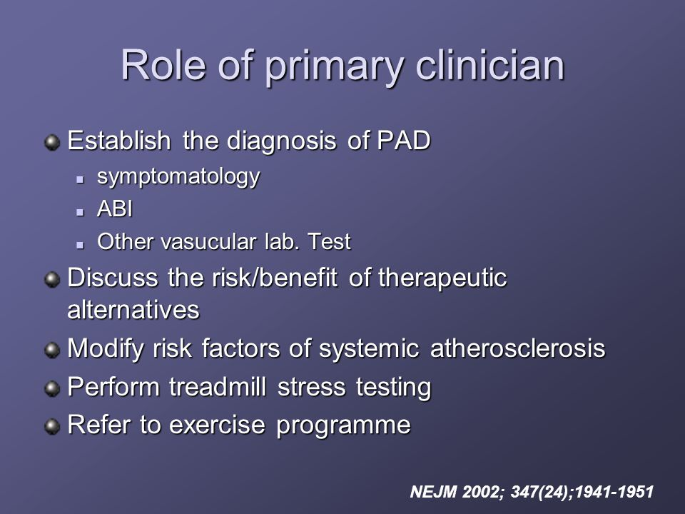 Role of primary clinician