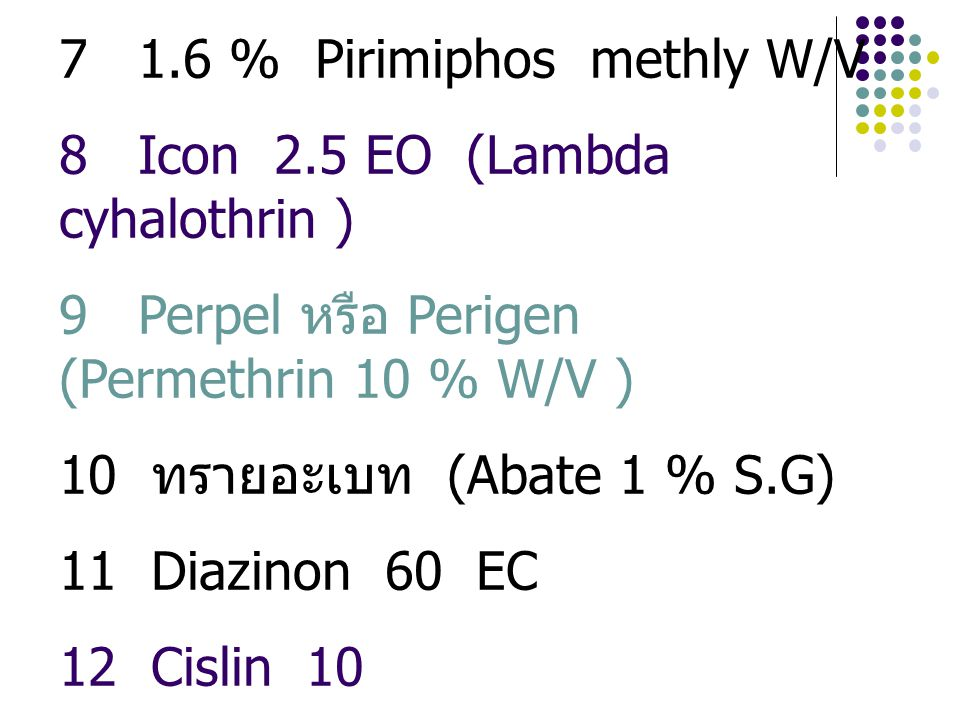 7 1.6 % Pirimiphos methly W/V