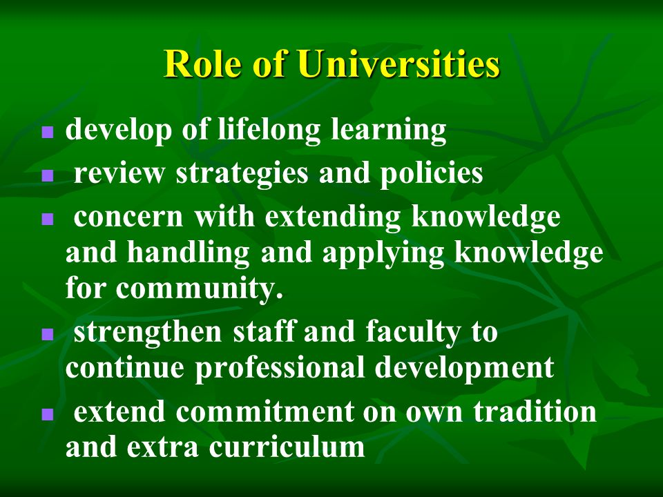 Role of Universities develop of lifelong learning