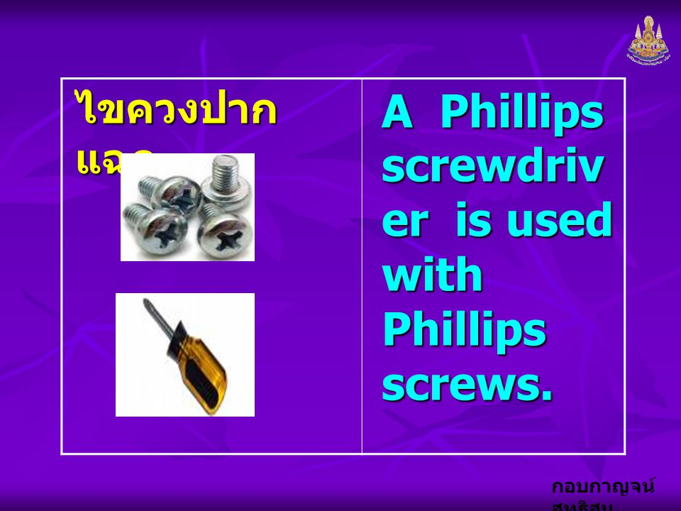 A Phillips screwdriver is used with Phillips screws.