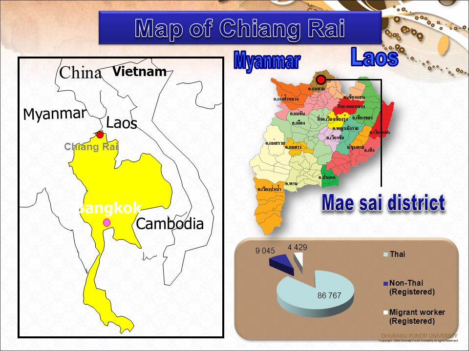 Map of Chiang Rai Mae sai district China Laos Myanmar Myanmar Laos