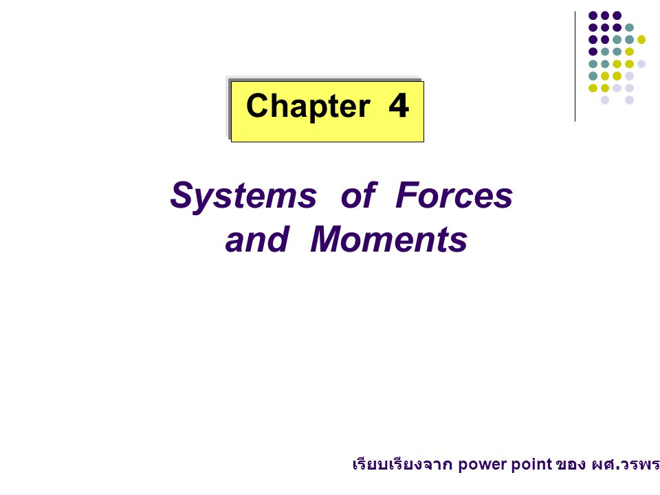 Systems of Forces and Moments