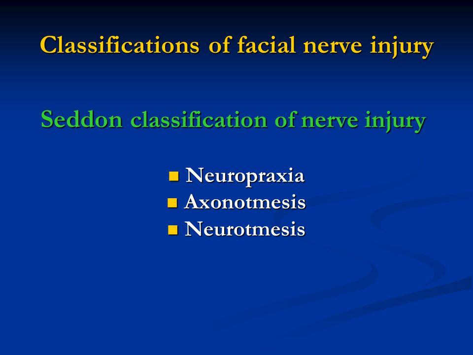 Classifications of facial nerve injury