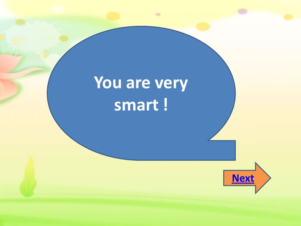 You are very smart ! Next