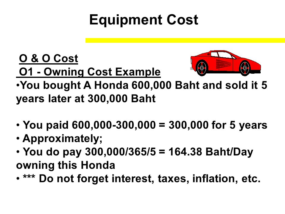 Equipment Cost O & O Cost O1 - Owning Cost Example