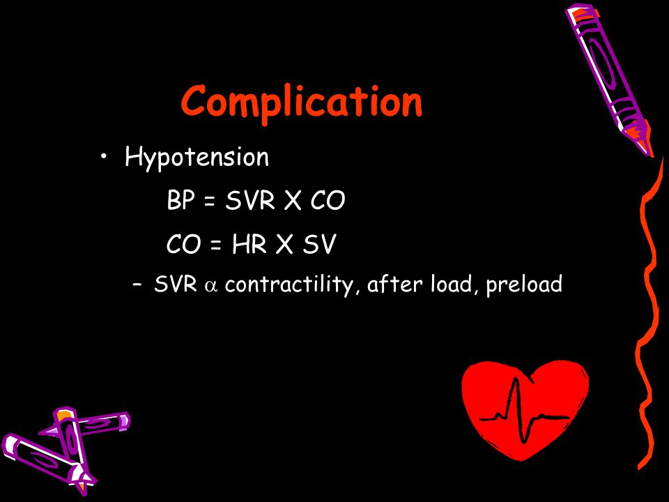 Complication Hypotension BP = SVR X CO CO = HR X SV