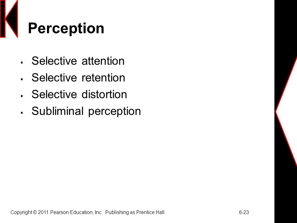 Perception Selective attention Selective retention