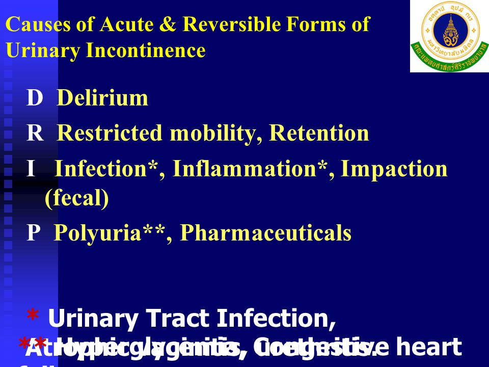 Causes of Acute & Reversible Forms of Urinary Incontinence