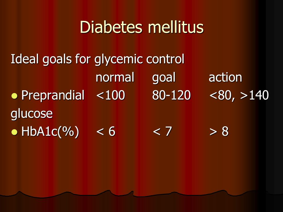 Diabetes mellitus Ideal goals for glycemic control normal goal action