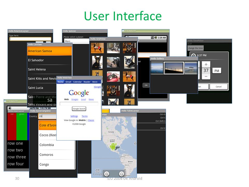 User Interface SJU 2004-04 Android