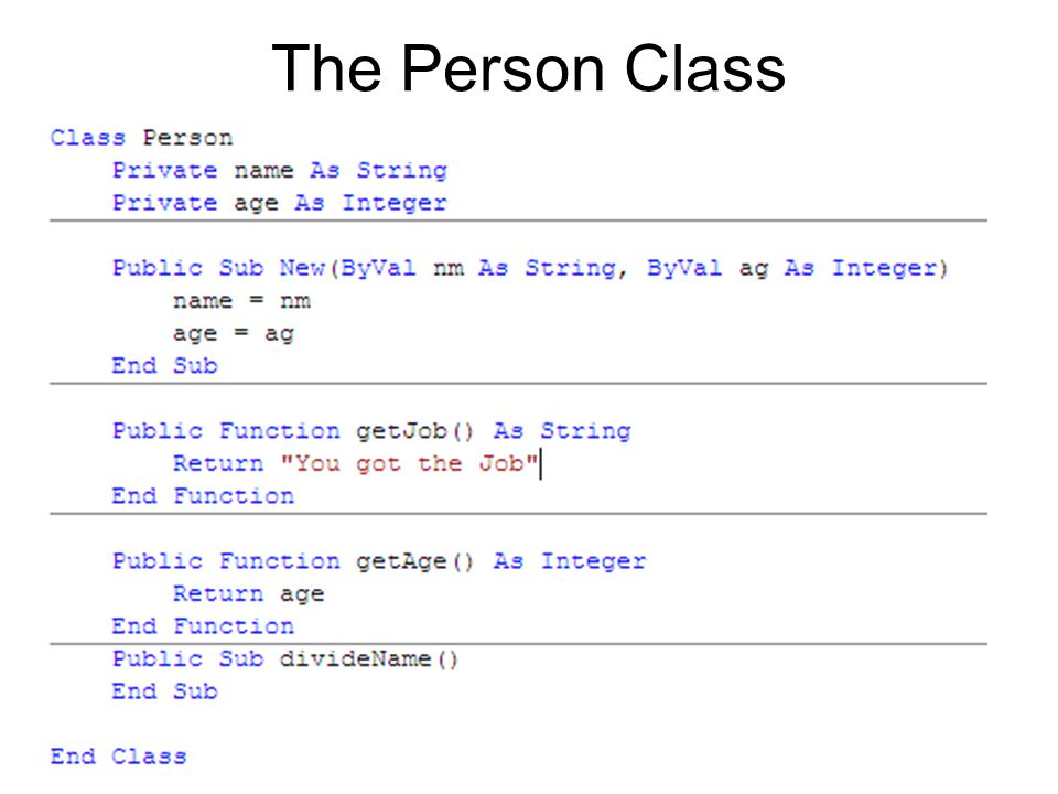 The Person Class
