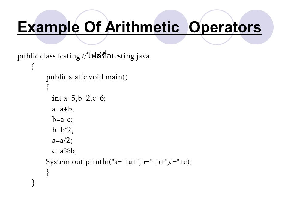 Example Of Arithmetic Operators