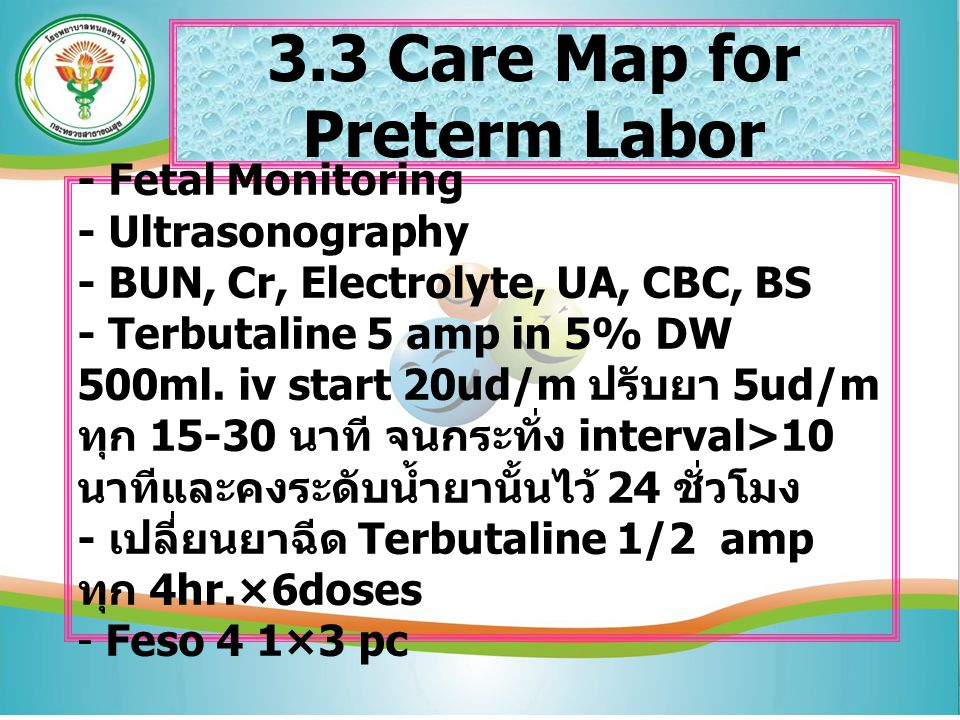 3.3 Care Map for Preterm Labor