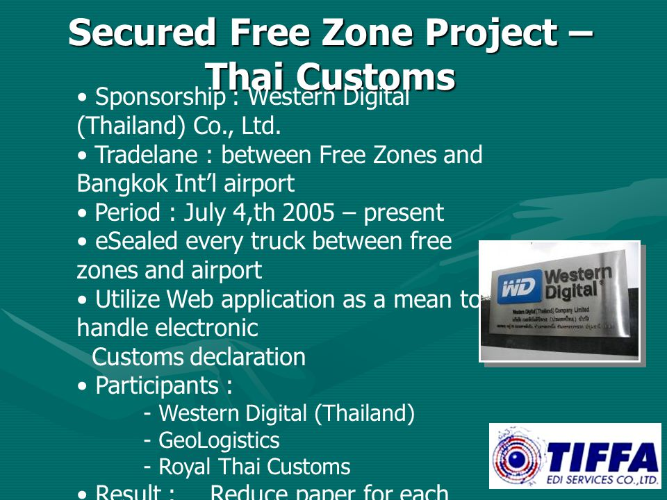 Secured Free Zone Project – Thai Customs