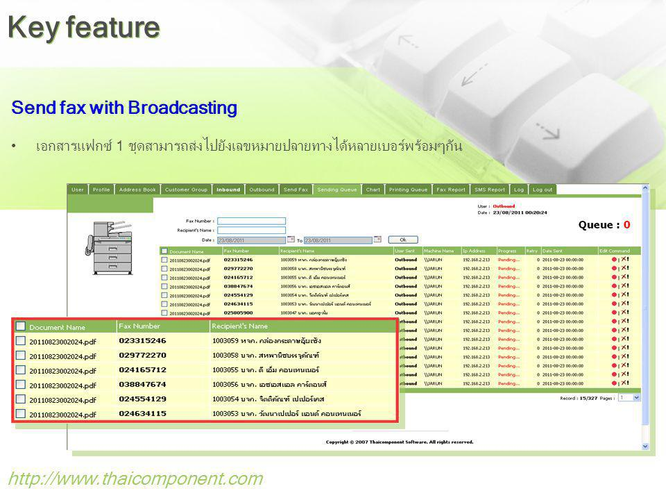 Key feature Send fax with Broadcasting http://www.thaicomponent.com