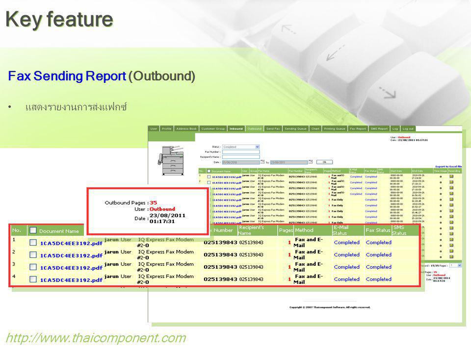 Key feature Fax Sending Report (Outbound) http://www.thaicomponent.com