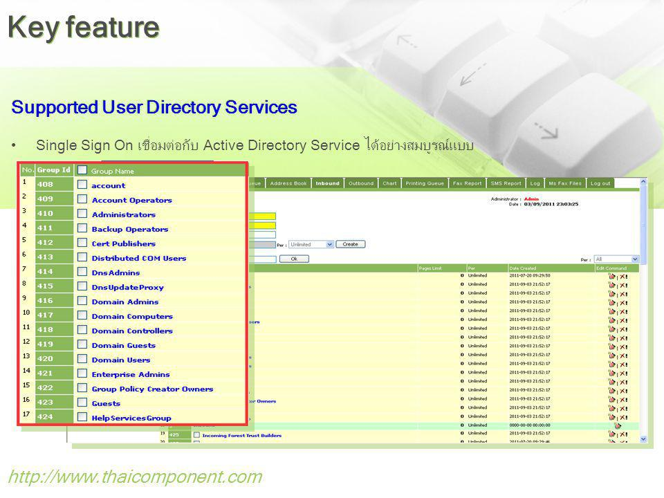 Key feature Supported User Directory Services