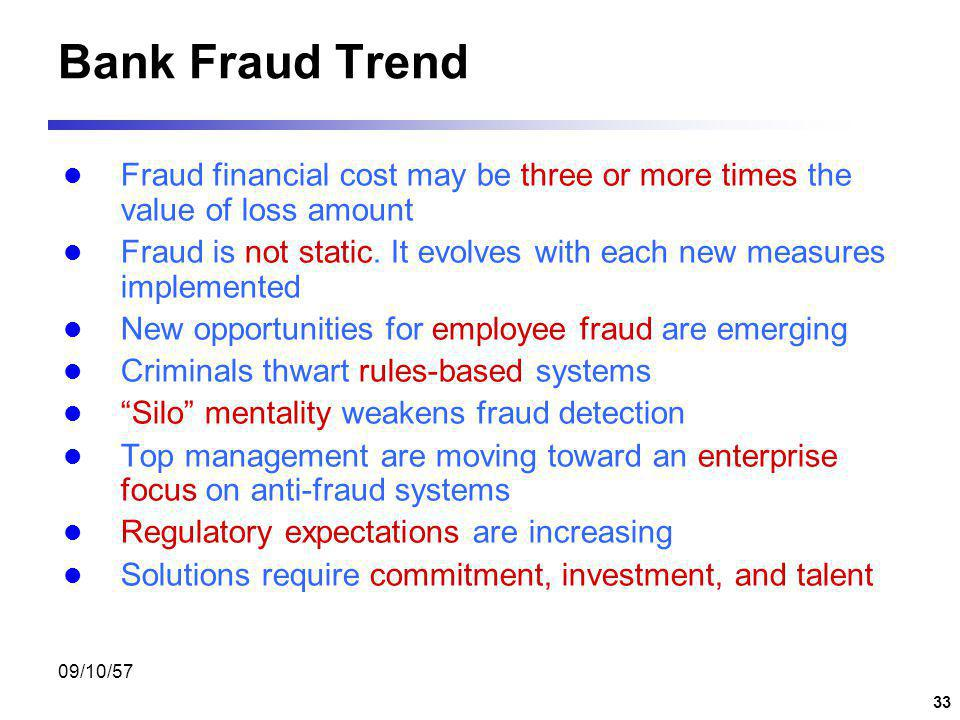 Bank Fraud Trend Fraud financial cost may be three or more times the value of loss amount.
