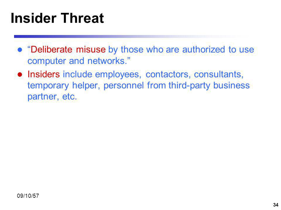 Insider Threat Deliberate misuse by those who are authorized to use computer and networks.