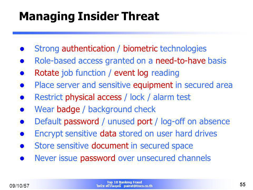 Managing Insider Threat