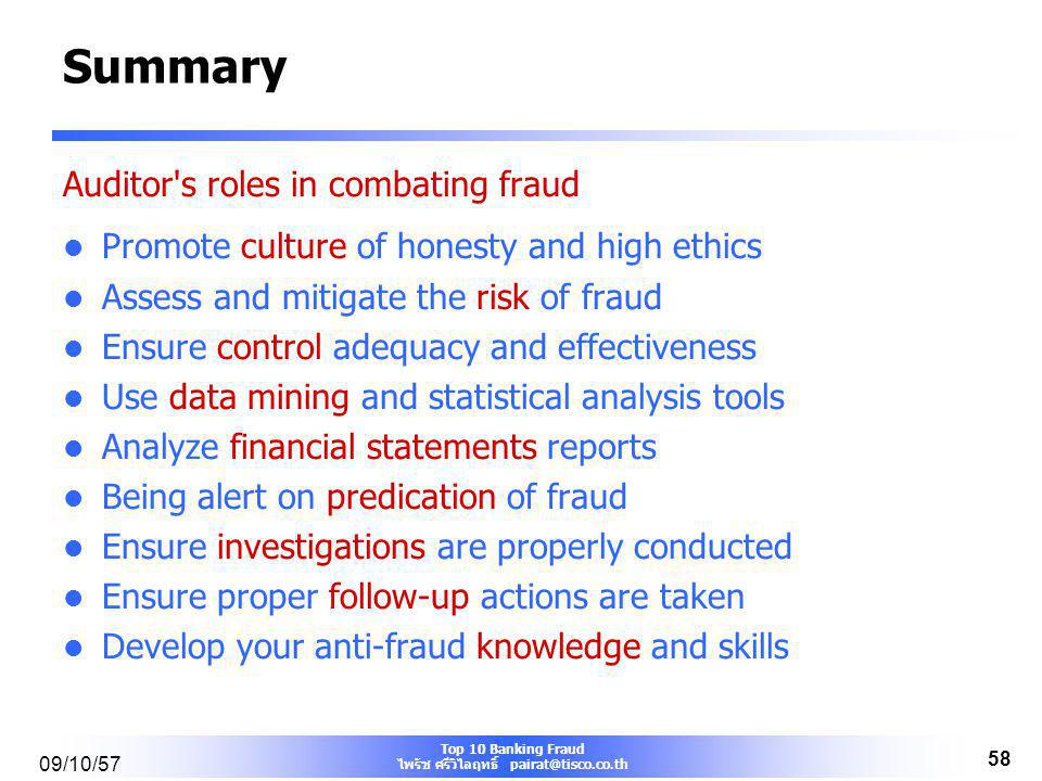 Summary Auditor s roles in combating fraud
