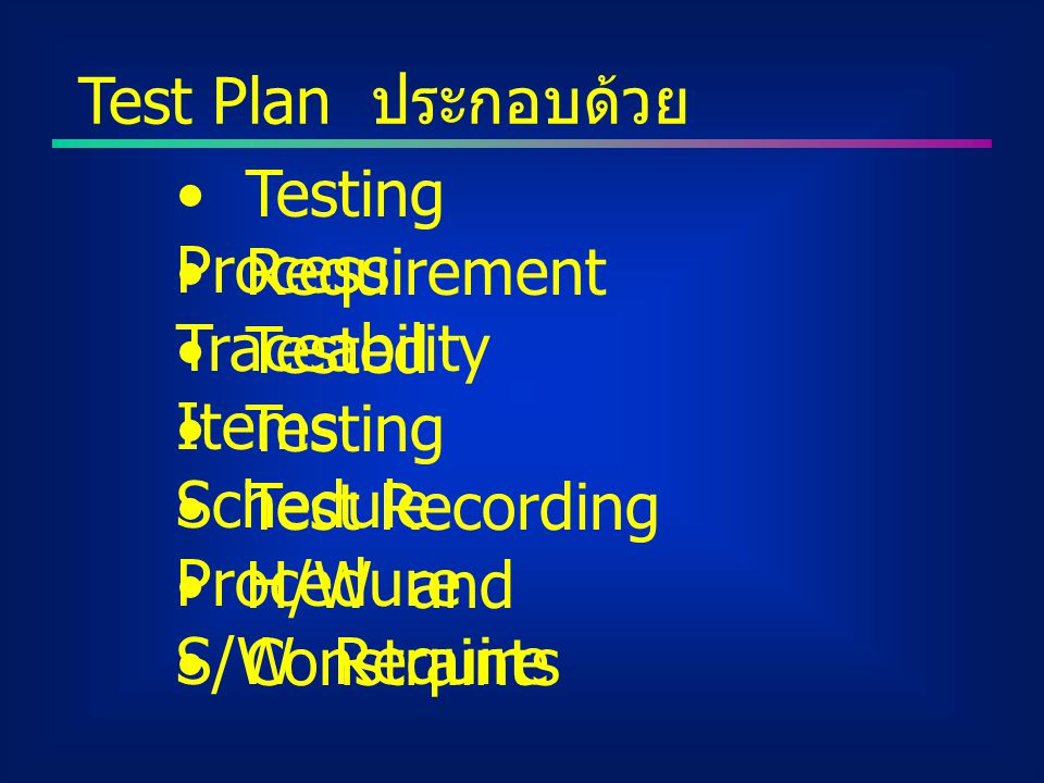 Test Plan ประกอบด้วย Testing Process. Requirement Traceability. Tested Items. Testing Schedule.