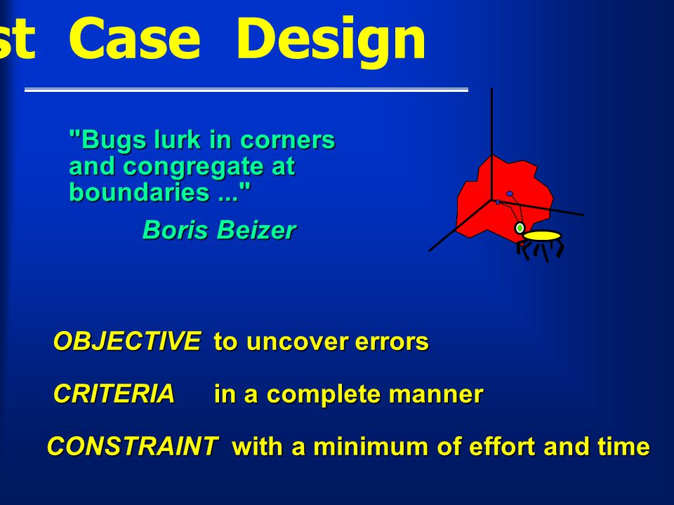 Test Case Design Bugs lurk in corners and congregate at