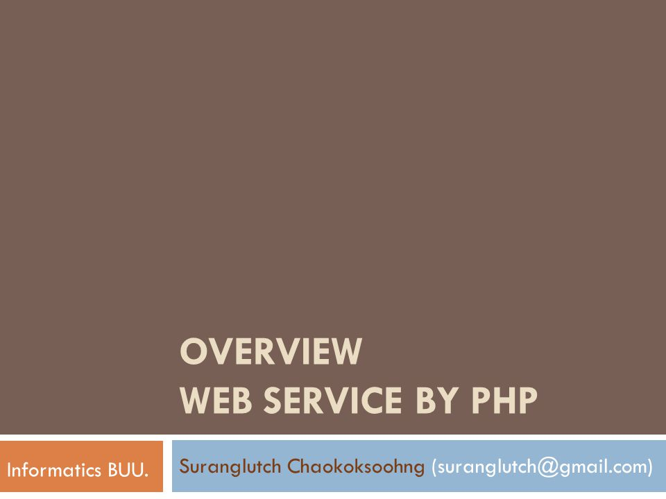 Overview Web Service by PHP