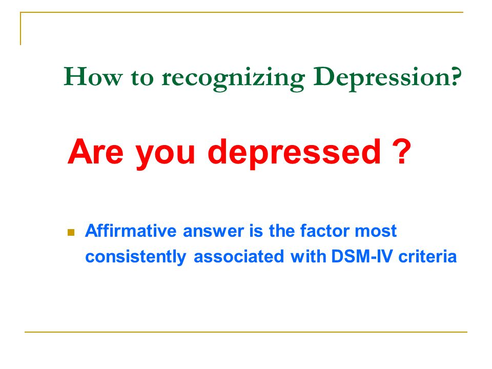 How to recognizing Depression